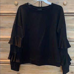 Halogen Ruffle Sleeve Sweatshirt